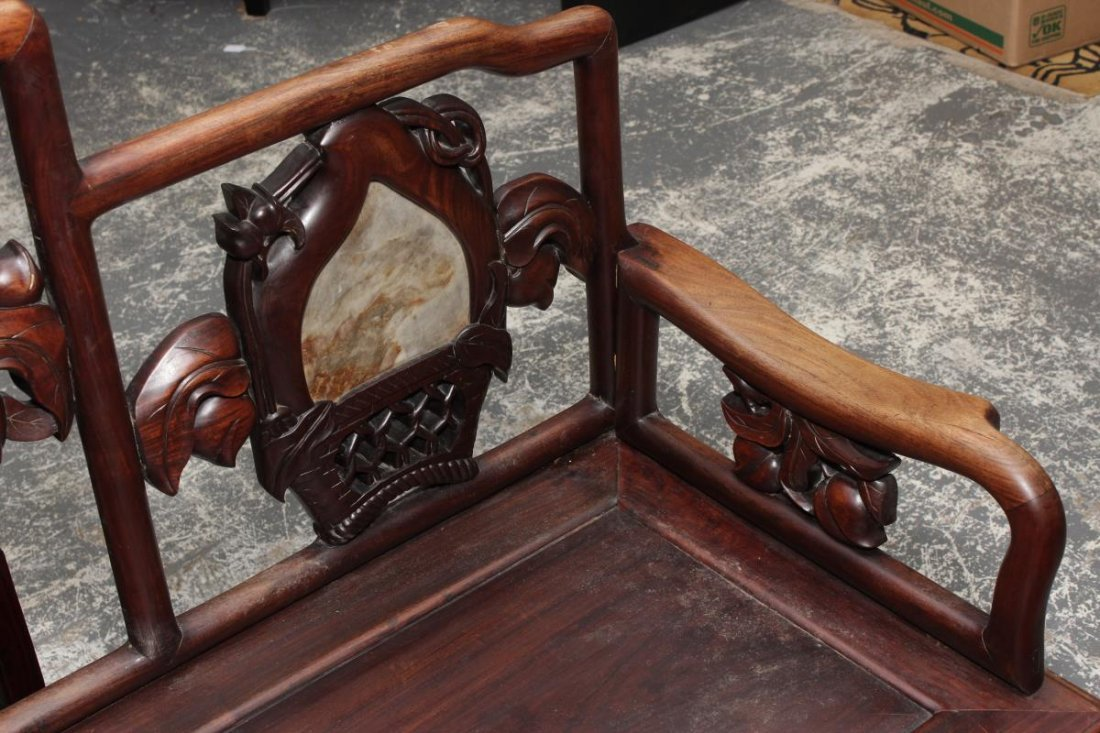 Chinese Carved Hardwood and Marble Bench Seat, - 3