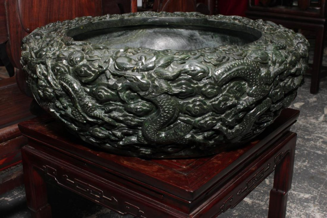 Large Carved Chinese Spinach Jade Bowl, - 2