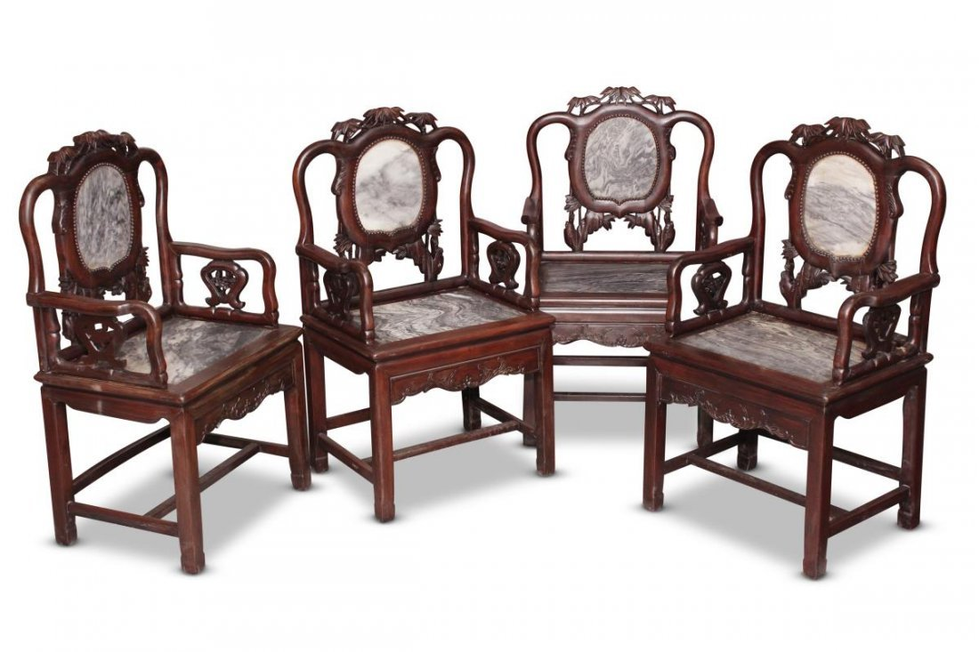 Set of Four Chinese Carved and Marble Armchairs,