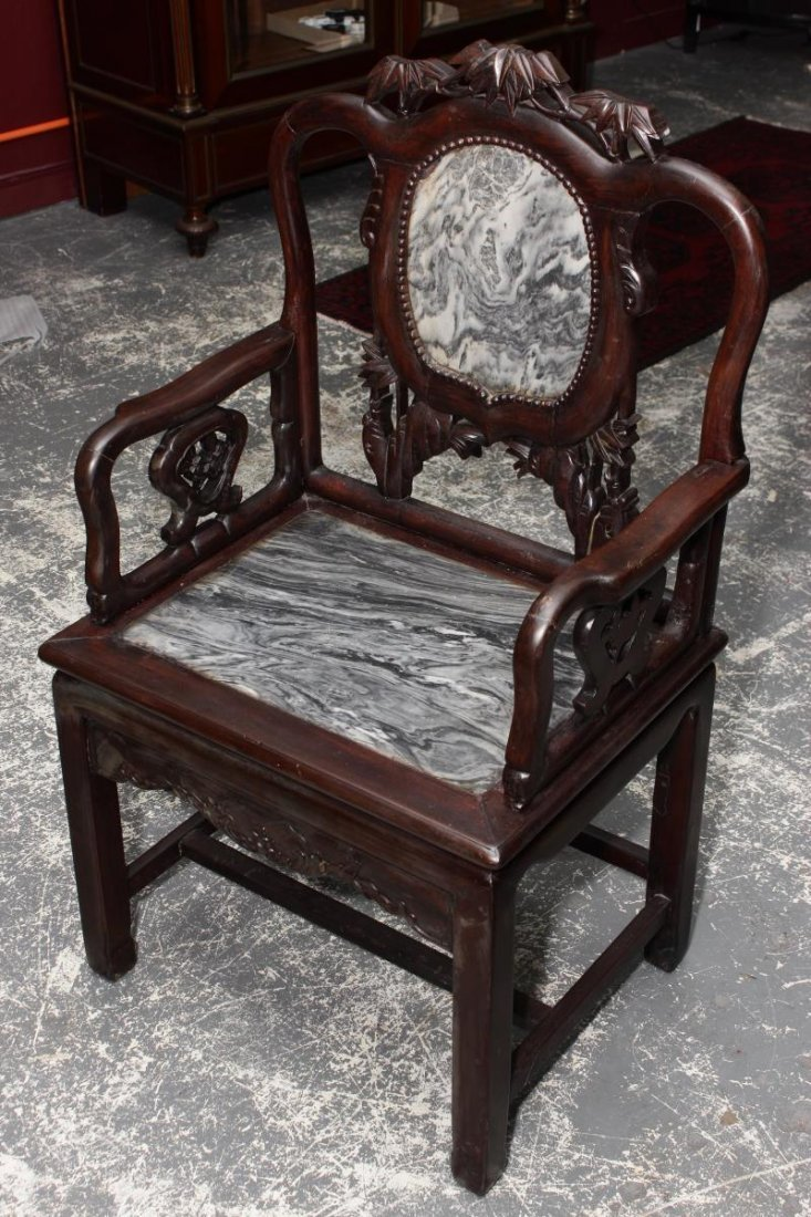 Set of Four Chinese Carved and Marble Armchairs, - 2