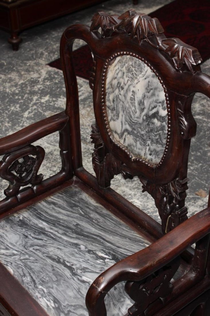 Set of Four Chinese Carved and Marble Armchairs, - 3