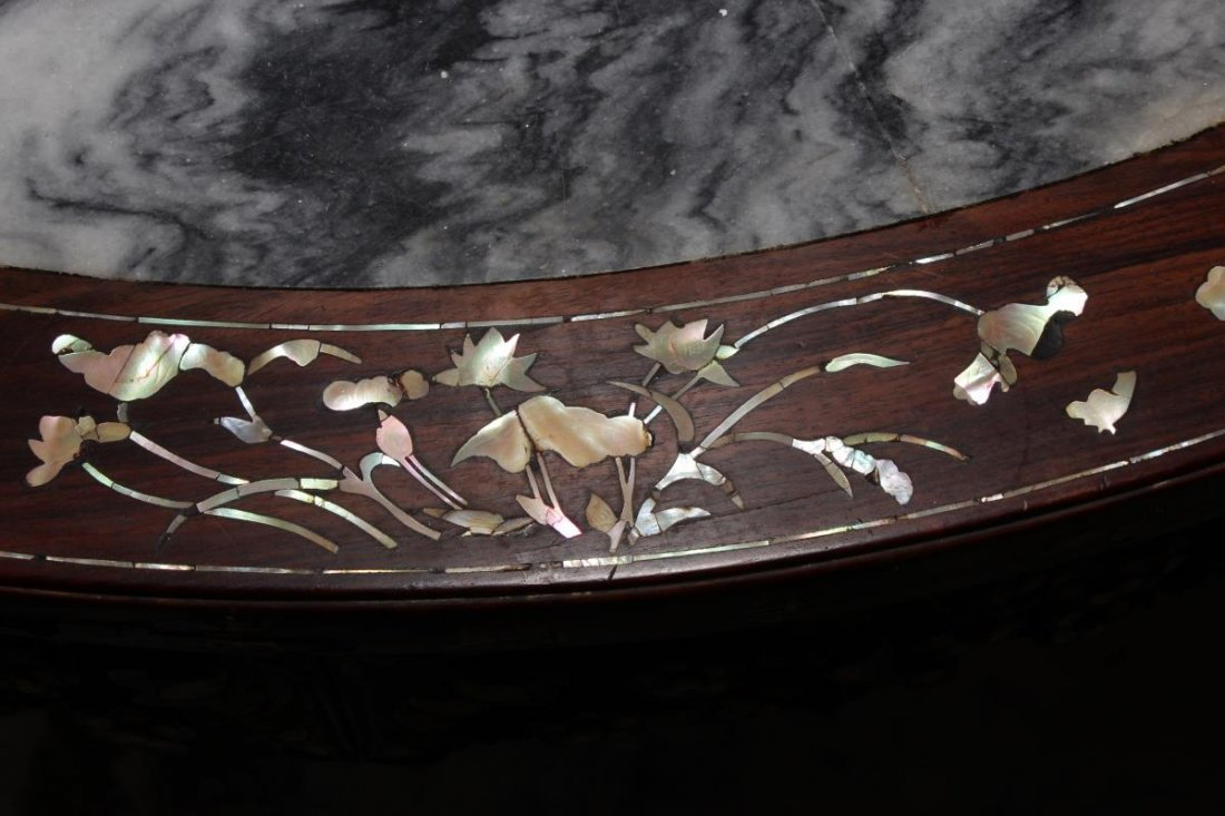Chinese Hardwood and Mother of Pearl Inlaid Table, - 10