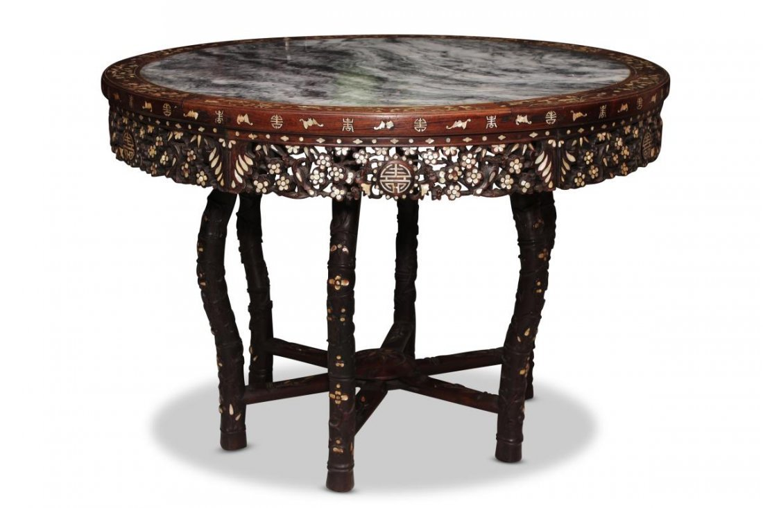 Chinese Hardwood and Mother of Pearl Inlaid Table,