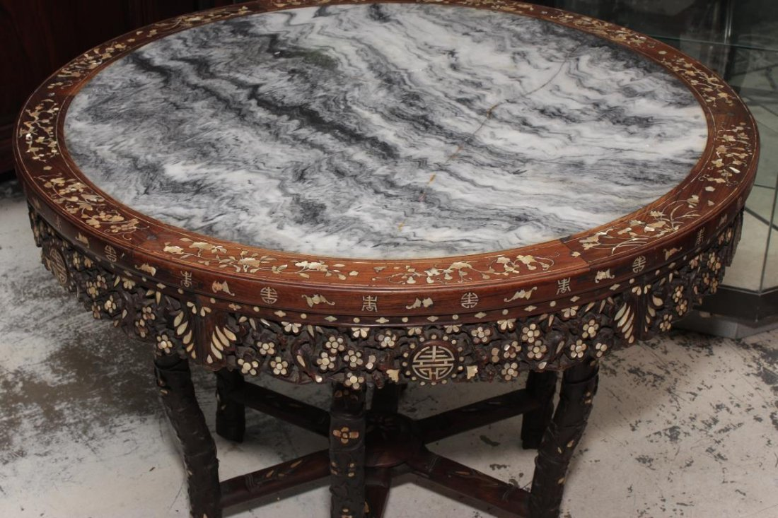 Chinese Hardwood and Mother of Pearl Inlaid Table, - 2