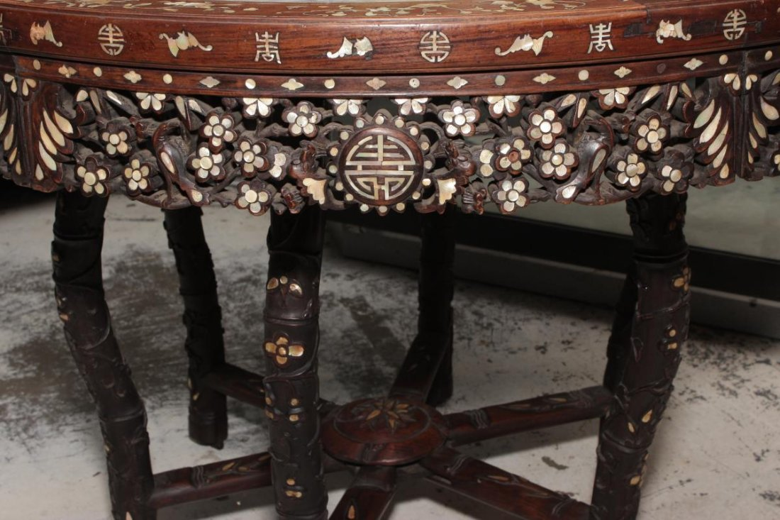 Chinese Hardwood and Mother of Pearl Inlaid Table, - 3