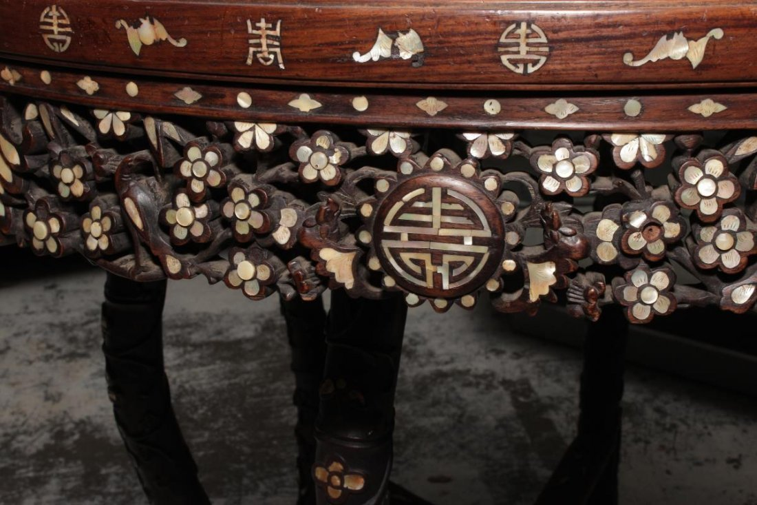 Chinese Hardwood and Mother of Pearl Inlaid Table, - 4