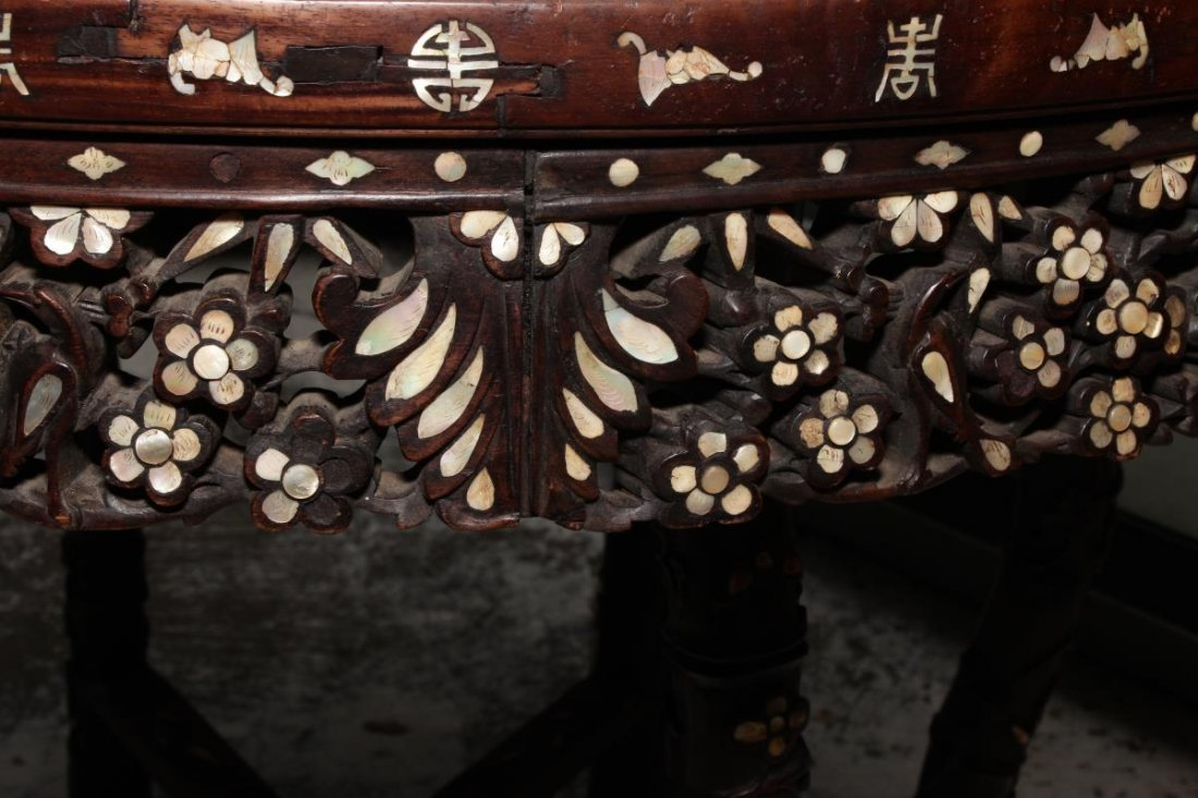 Chinese Hardwood and Mother of Pearl Inlaid Table, - 7