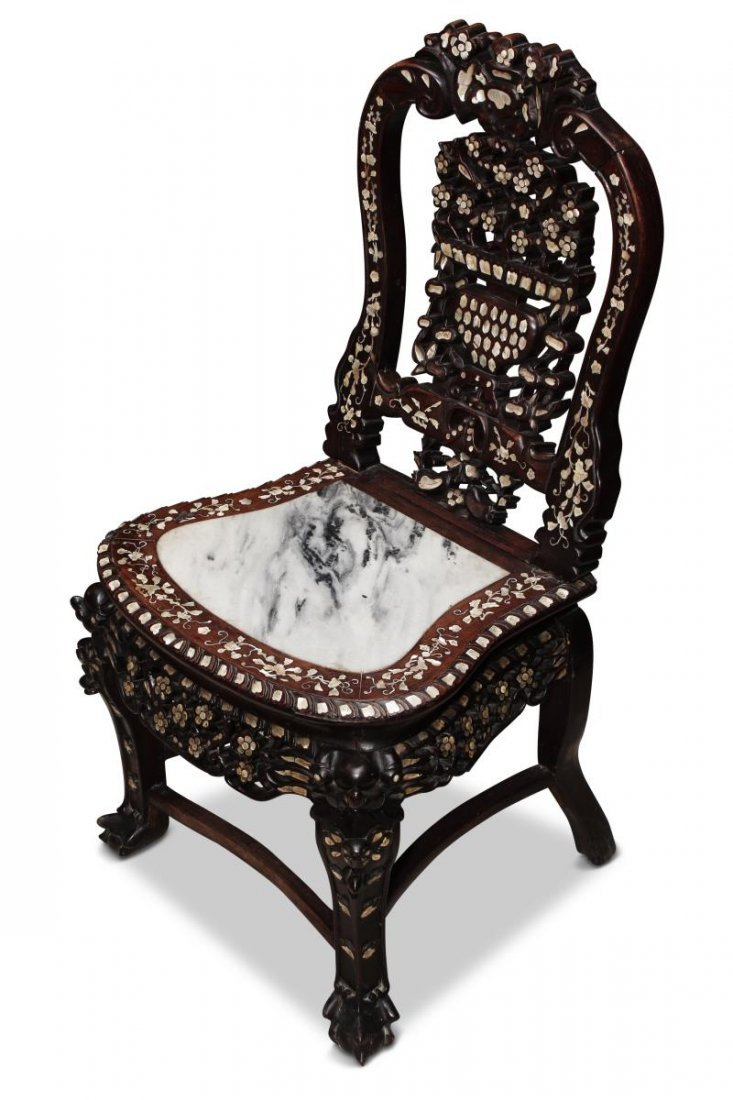 Chinese Carved Rosewood and Mother of Pearl