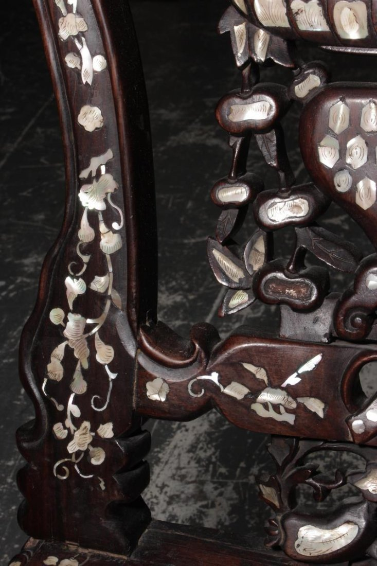 Chinese Carved Rosewood and Mother of Pearl - 4