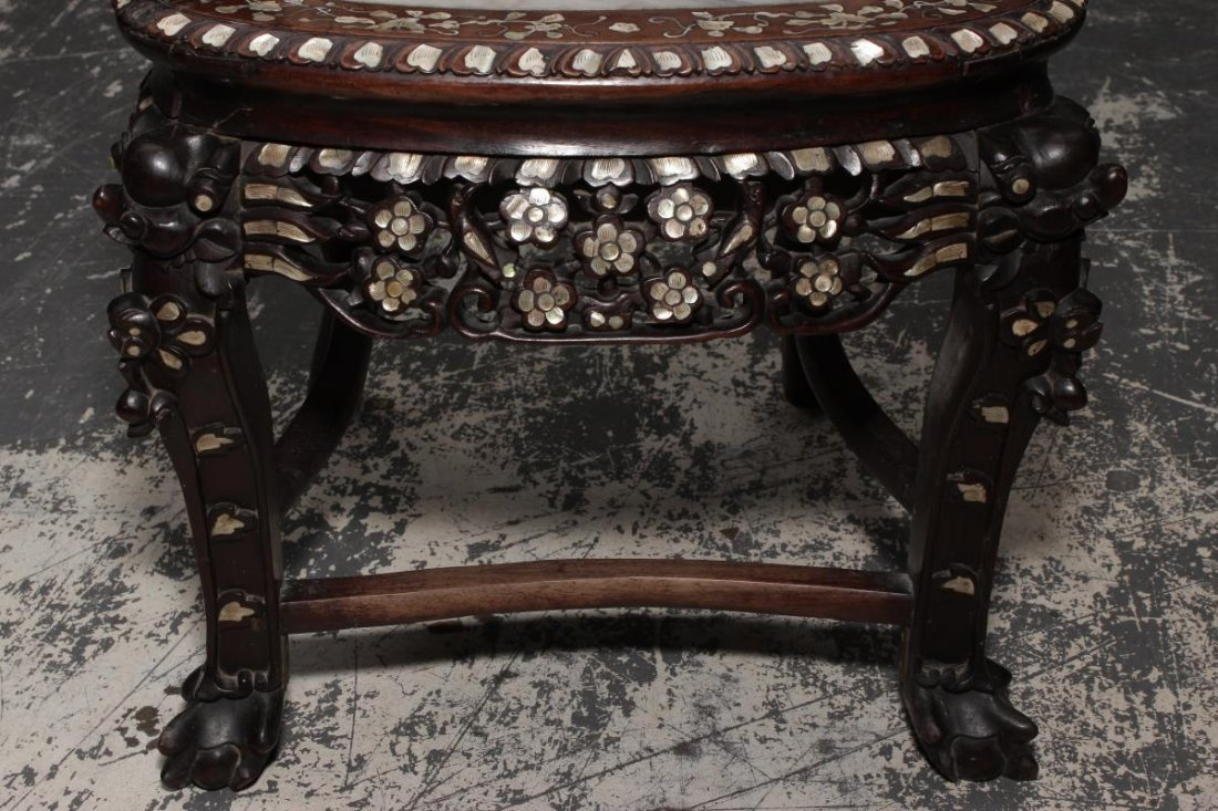 Chinese Carved Rosewood and Mother of Pearl - 6