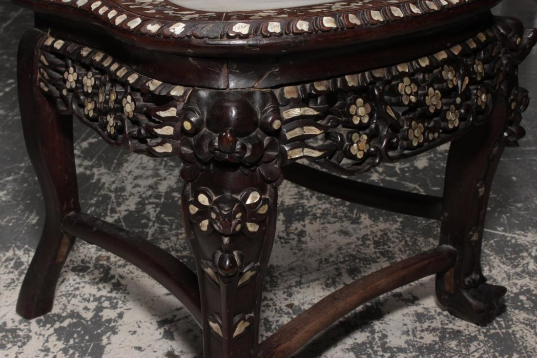 Chinese Carved Rosewood and Mother of Pearl - 7