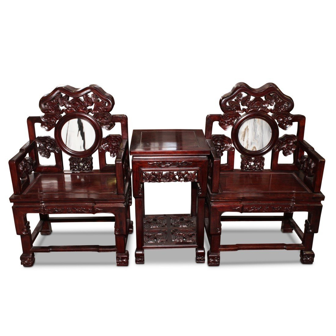 Large Pair of Chinese Chairs and Table,