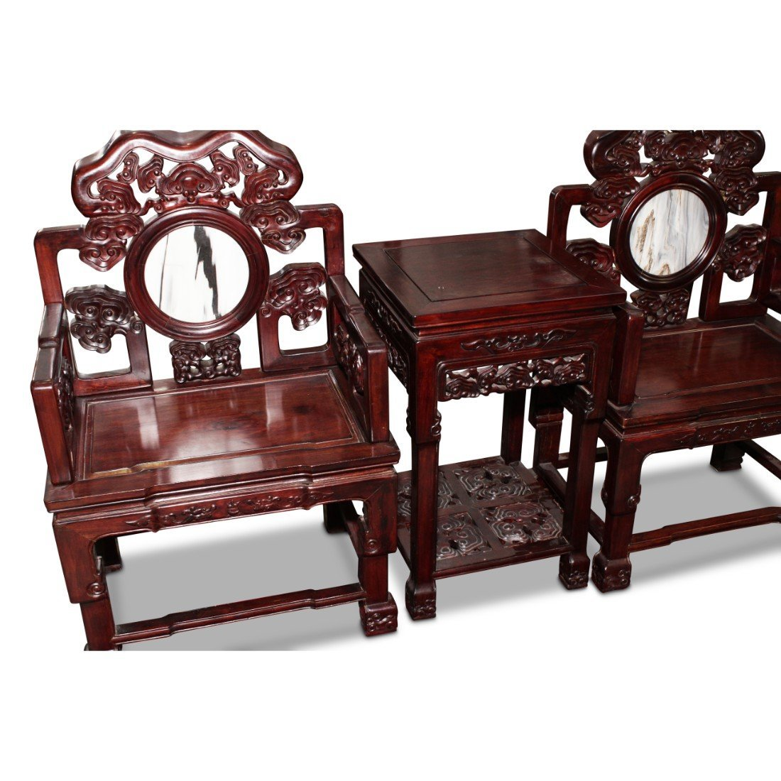 Large Pair of Chinese Chairs and Table, - 2