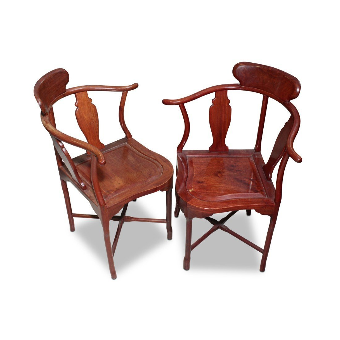 Pair of Chinese Horse Shoe Back Corner Chairs,