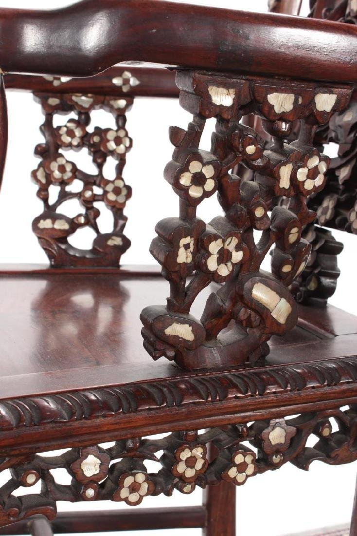 Pair of Chinese Mother of Pearl Inlaid Rosewood - 10
