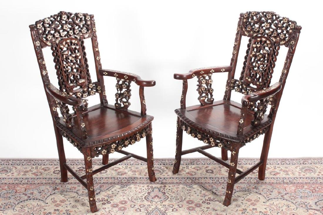 Pair of Chinese Mother of Pearl Inlaid Rosewood