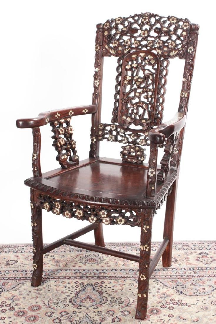 Pair of Chinese Mother of Pearl Inlaid Rosewood - 2