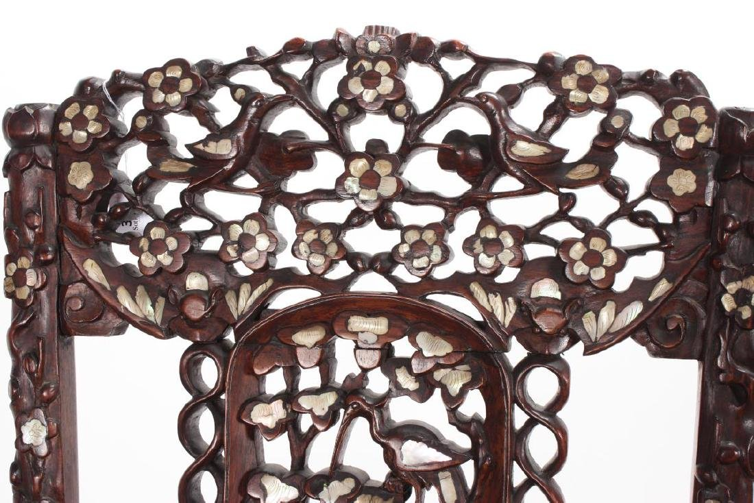 Pair of Chinese Mother of Pearl Inlaid Rosewood - 5