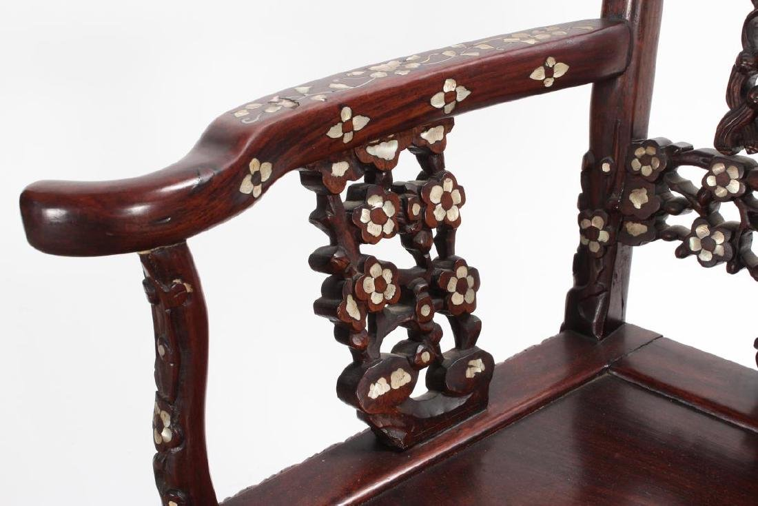 Pair of Chinese Mother of Pearl Inlaid Rosewood - 6