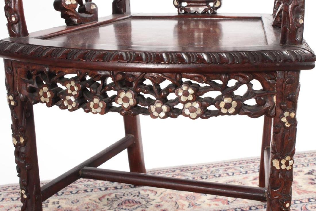 Pair of Chinese Mother of Pearl Inlaid Rosewood - 7
