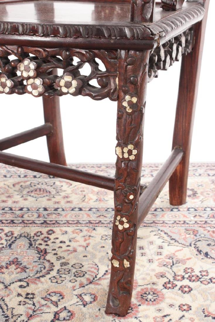 Pair of Chinese Mother of Pearl Inlaid Rosewood - 8