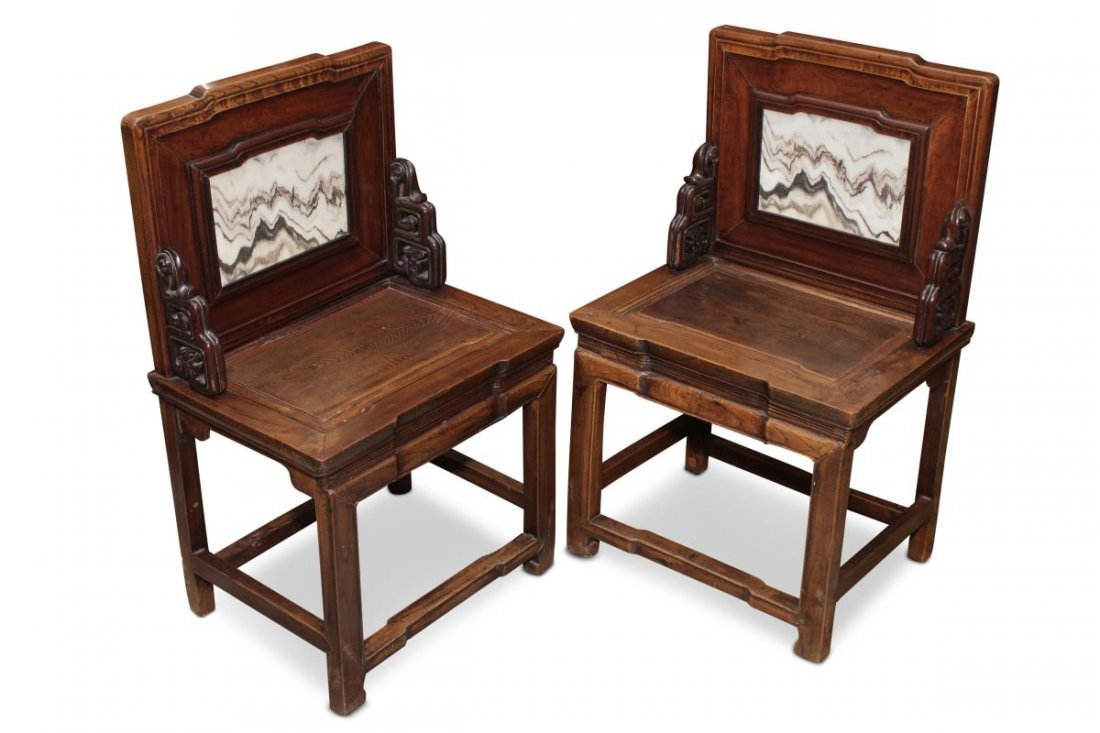 Lovely Pair of Chinese Marble Back Armchairs,