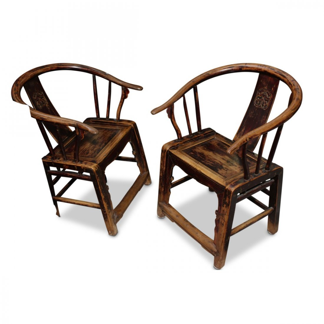 Pair of Chinese Horse Shoe Back Armchairs,