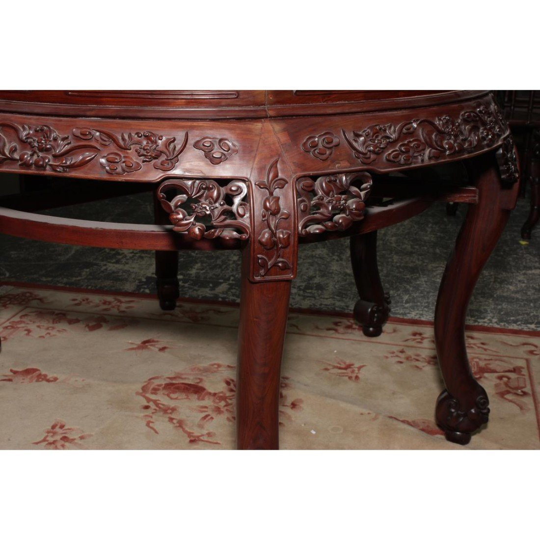 Large Chinese Carved Two Part Circular Top Table - 2