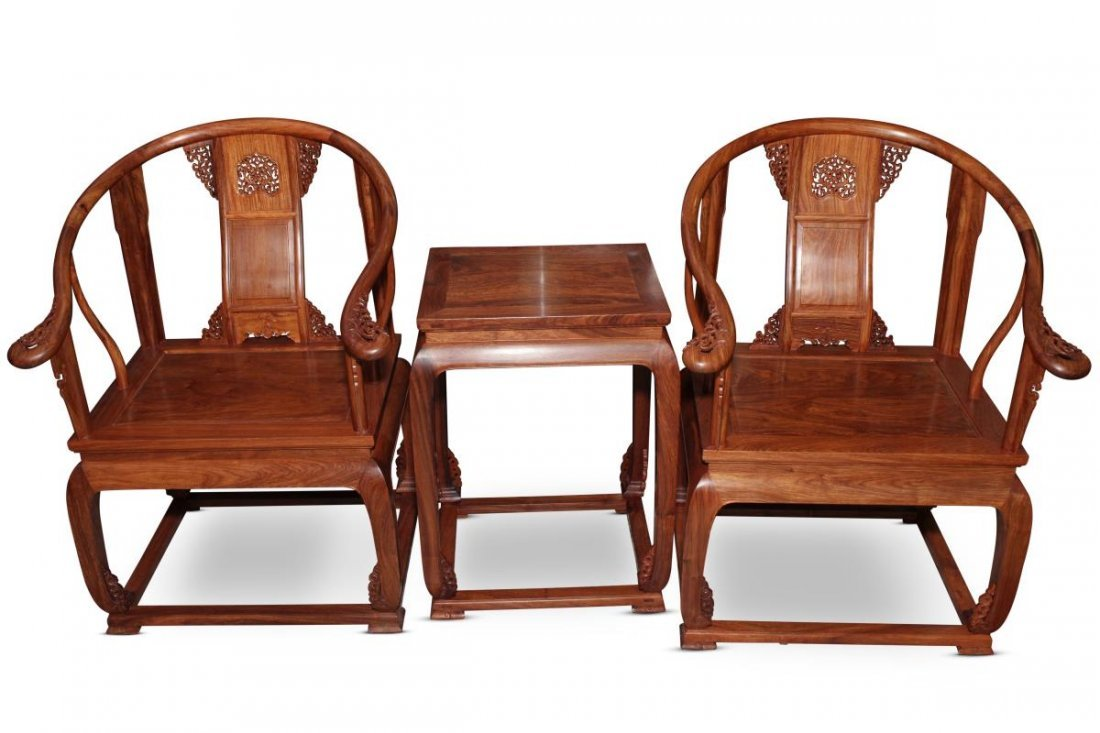 Pair of Chinese Hardwood Horseshoe Back Chairs