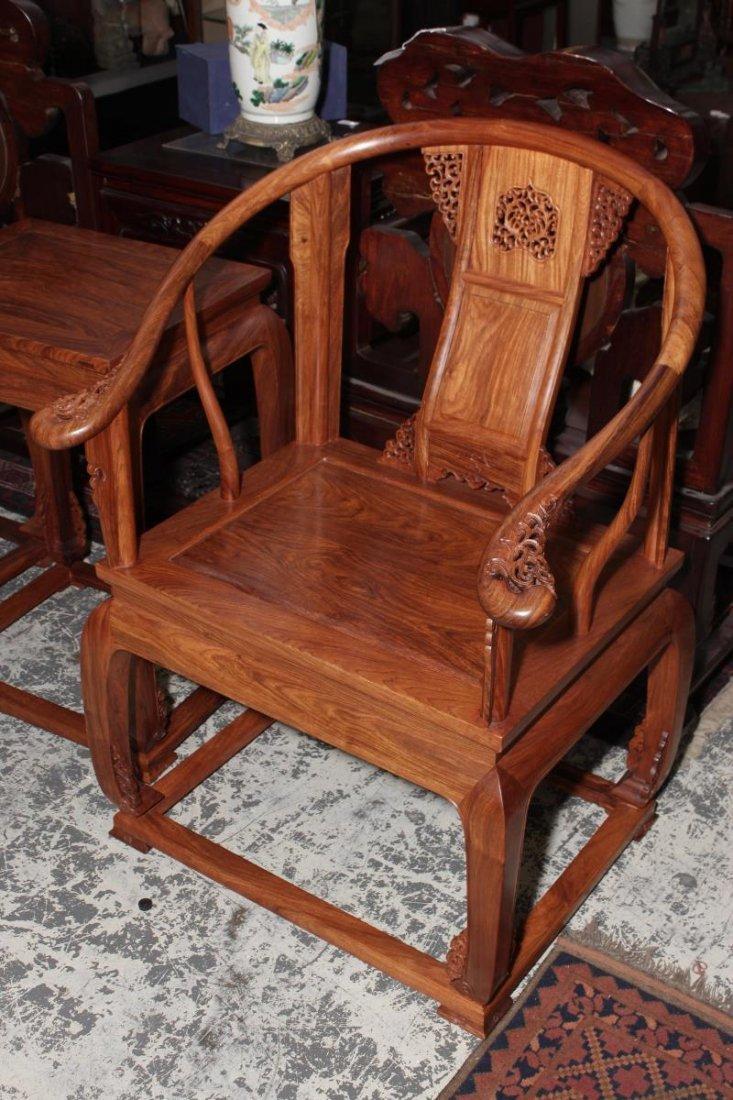 Pair of Chinese Hardwood Horseshoe Back Chairs - 2