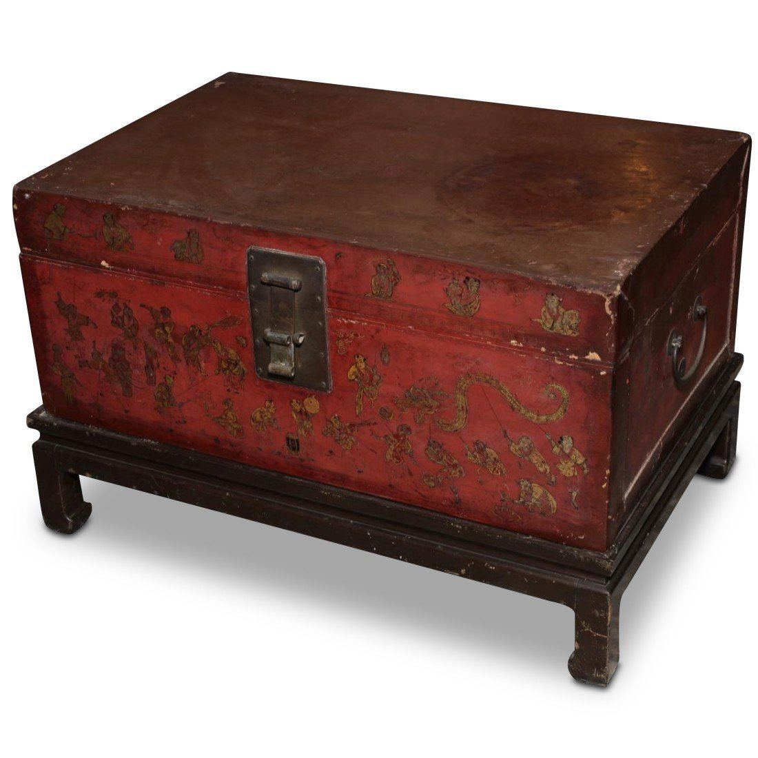 Chinese Red Lacquer Trunk on Stand,