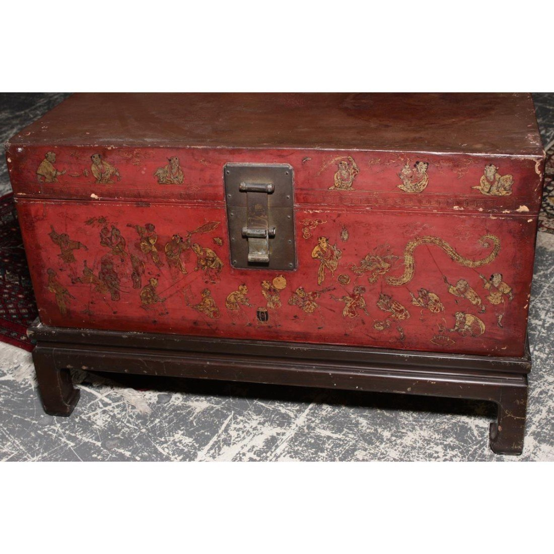 Chinese Red Lacquer Trunk on Stand, - 2