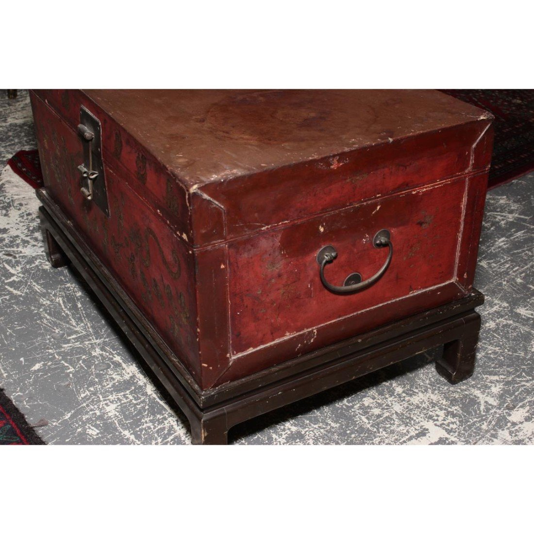 Chinese Red Lacquer Trunk on Stand, - 3