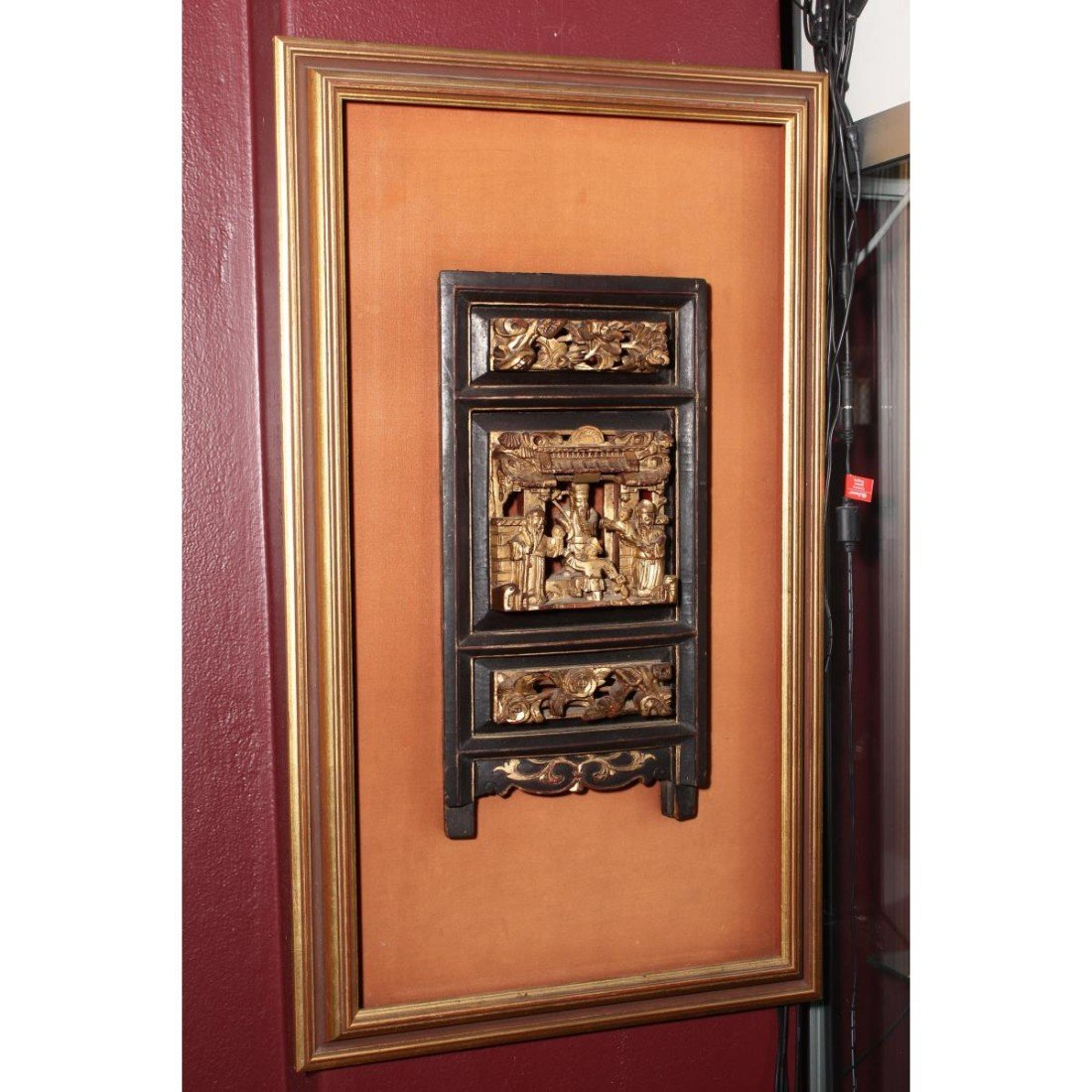 Chinese Mounted Gilt Carved Panel,