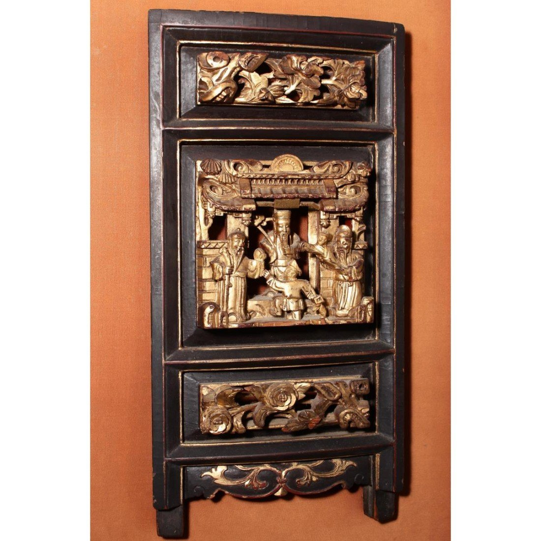 Chinese Mounted Gilt Carved Panel, - 2