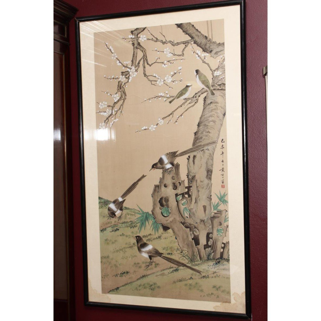 Chinese Framed Silk Painting,