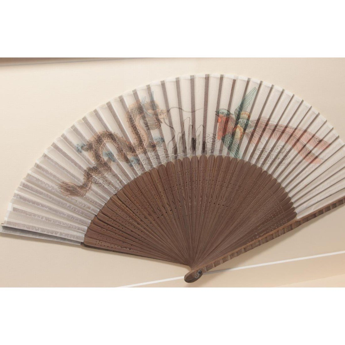 Pair of Framed Chinese Fans, - 2