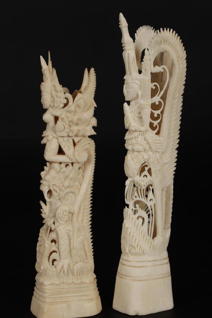 Two Carved Bone Figures,