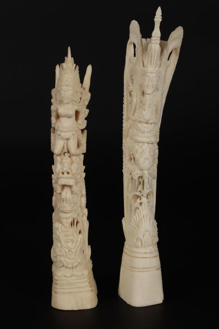 Two Carved Bone Figures, - 2