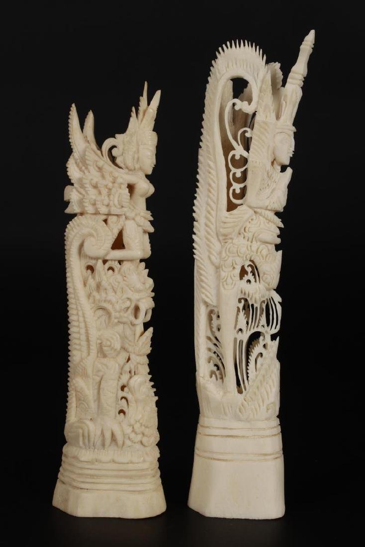 Two Carved Bone Figures, - 3