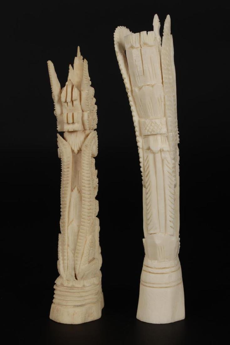 Two Carved Bone Figures, - 4