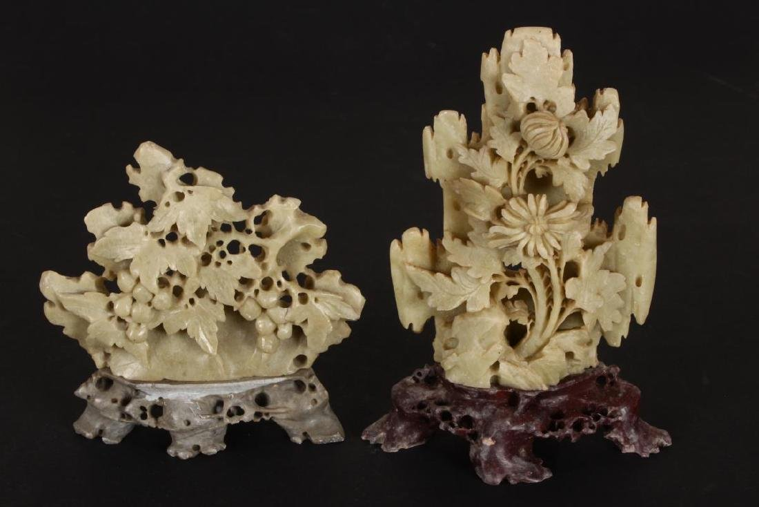 Two Carved Hardstone Figure Groups,