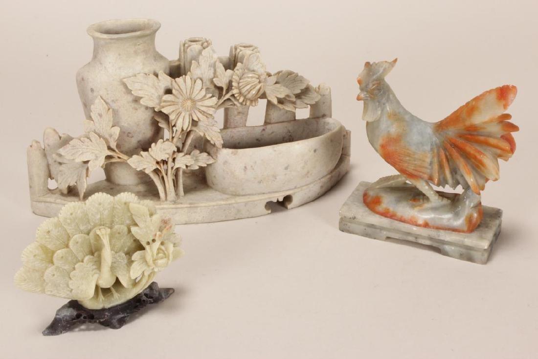 Three Carved Hardstone Figure Groups,