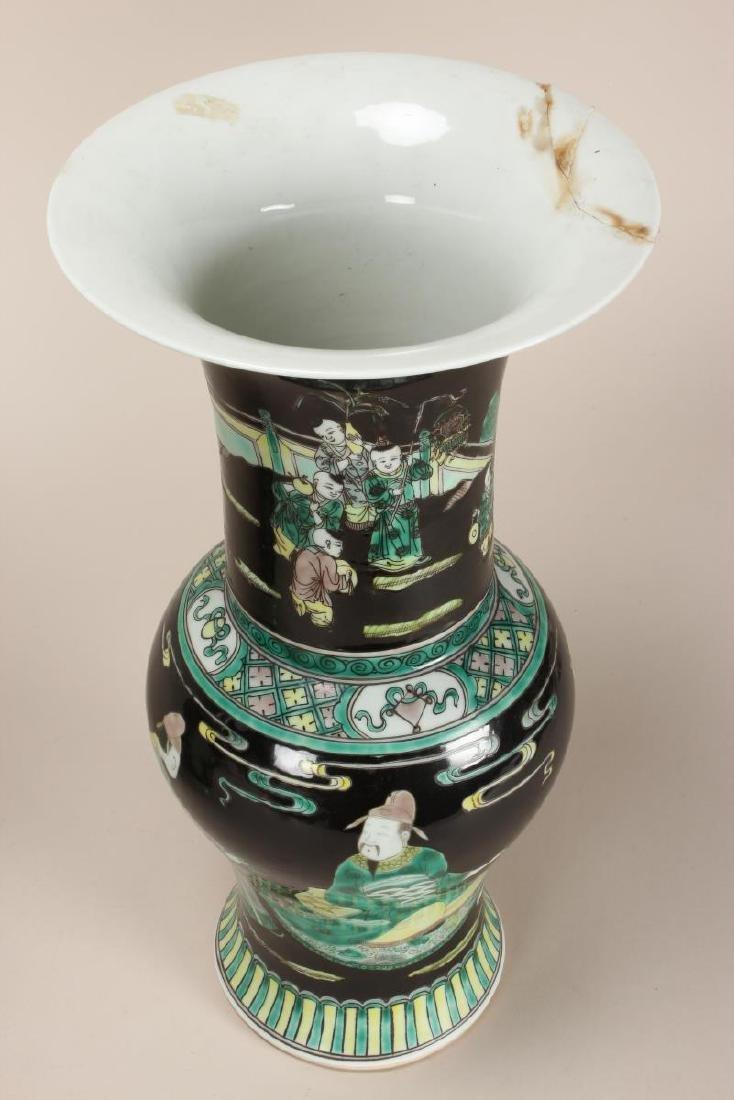 Pair of Chinese Famille Noir Porcelain Vases, - 2