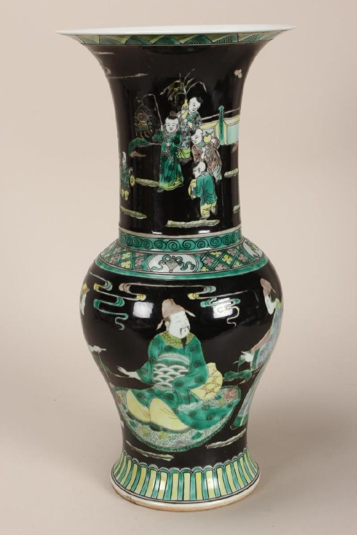 Pair of Chinese Famille Noir Porcelain Vases, - 3