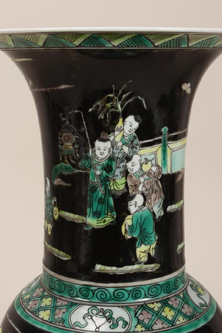 Pair of Chinese Famille Noir Porcelain Vases, - 4