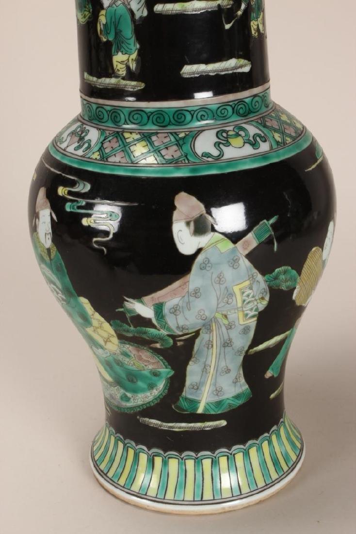 Pair of Chinese Famille Noir Porcelain Vases, - 5