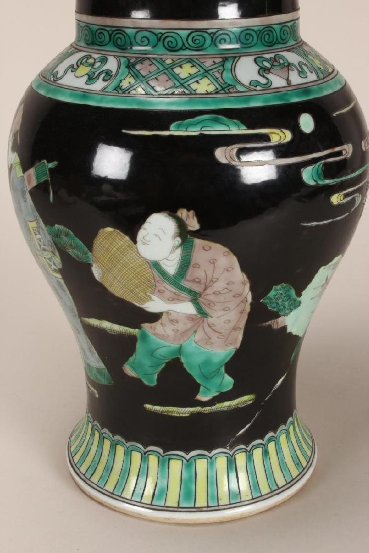 Pair of Chinese Famille Noir Porcelain Vases, - 6