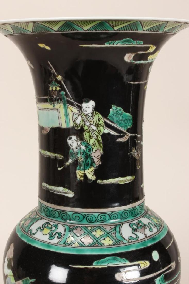 Pair of Chinese Famille Noir Porcelain Vases, - 7
