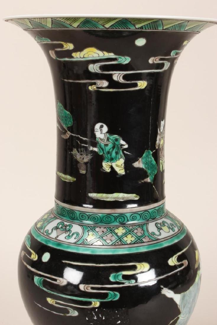Pair of Chinese Famille Noir Porcelain Vases, - 8